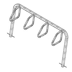 City Bicycle Rack, Single Sided, Below Grade Mount, 4-Bike