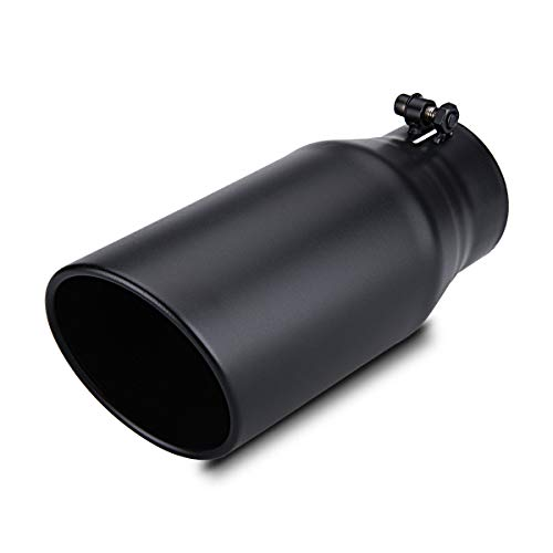 """LCGP Exhaust Tip 3.5"""" Inlet 5"""" Outlet 12"""" Long, Bolt On Design, Stainless Steel, Black Powder Coated, Rolled Angle Cut, Tailpipe Tip"""