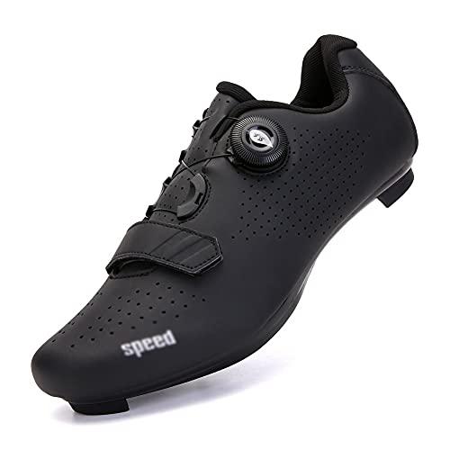 LIXIAOHONGG Zapatillas Ciclismo,Zapatillas De Bicicleta De Montaña Transpirables,Zapatillas De Ciclismo para Carretera, con Suela De Carbono Y Sistema Rotativo De Precisión (Color : Black, Size : O)