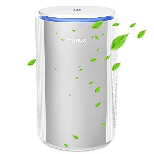 HIMOX Purificador de Aire de Sobremesa, con HEPA Filtro Eliminando 99.5% Pollens y Alérgenos, Luz Nocturna Atmósfera y Alimentado por USB Cable (Modelo HIMOX-H09)