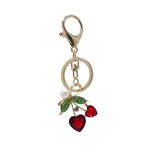 TangMengYun Llavero de moda con diseño de cereza, rojo brillante, aleación de cristal rojo, llavero de coche con diamantes de imitación para mujer (color de fotos, tamaño: 10 cm)