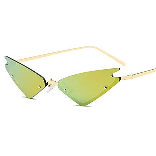 Gafas De Sol Hombre Mujeres Ciclismo Gafas De Sol para Mujer, Medio Marco, con Espejo Rojo, Gafas Triangulares para Mujer, Tonos para Hombre, Dorado