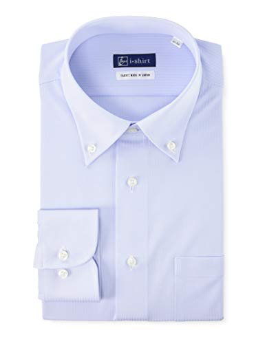 [アイシャツ] i-shirt 完全ノーアイロン ストレッチ 超速乾 レギュラーフィット 長袖 アイシャツ ワイシャツ メンズ サックス 新レギュラーフィット 長袖ボタンダウン ドビーストライプ M15121001181 LL82(首回り43cm×裄丈82cm)