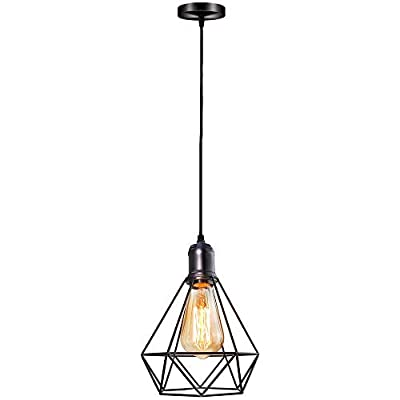 Pendant Lighting Hanging Light Fixture Flush Mount Ceiling Lamp Cage Pendant Light with E26 Bulb Base Black for Kitchen Island,Bedroom,Hallway-UL Listed
