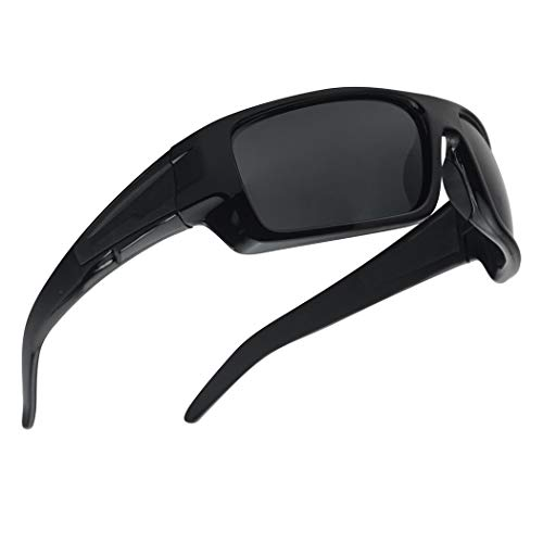 Wrap Around Sports TAC Polarized Lightweight Floating Sunglasses - Designed for Fishing, Boating, all Water Sports (Black Frame | Smoke)
