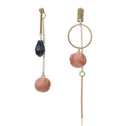 NOBRAND Pendiente de borlas de Tela marrón para Mujer Moda Gran Cristal Diseño Pendiente de Gota Joyería