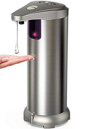 Hanamichi Dispensador Automático de Jabón con Acero Inoxidable, Sensor de Movimiento por Infrarrojos, Base Impermeable, Interruptor Ajustable, Baño Apropiado, Cocinas, Hotel, Restaurante