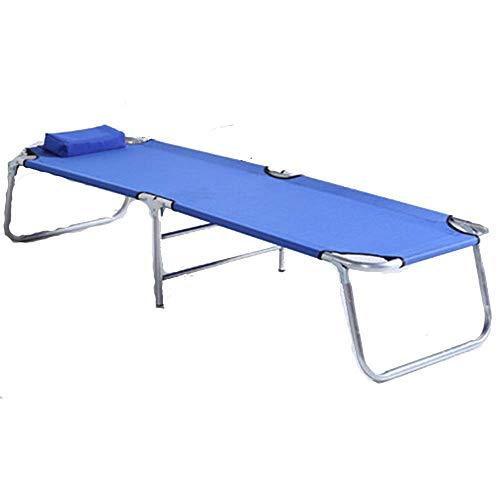 Home outdoor/Lit pliant portable renforcé Nap Lit simple Chaise de couchage simple Lit de camp (Color : Blue)