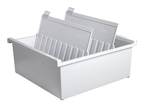 HAN Karteitrog DIN A4 quer – innovatives, attraktives Design für 1.300 Karten, inklusive 2 Stützplatten mit Sichtreitern, lichtgrau, 954-0-11