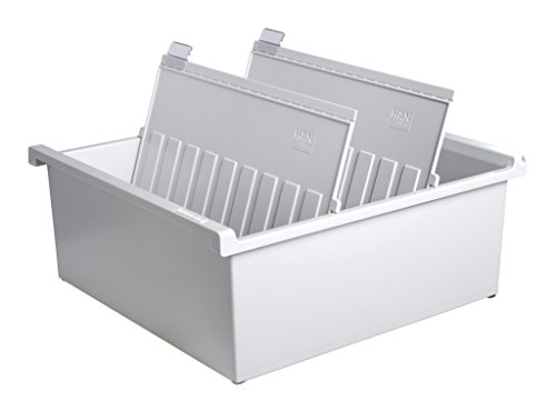 HAN 954-0-11, Karteitrog A4 quer, Innovatives, attraktives Design für 1.300 Karten, inklusive 2 Stützplatten mit Sichtreitern, lichtgrau