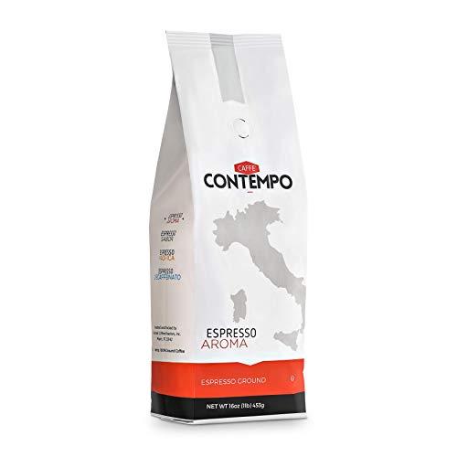 CAFFÉ CONTEMPO Italian Style Espresso, Aroma Blend, 1 LB Fine Grind, Dark Roast, Freshly Roasted Ground Coffee