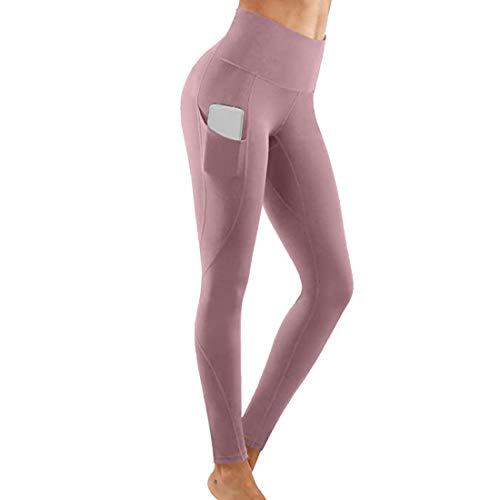 XLDD Pantaloni da Yoga Leggins Donna Eleganti Sportivi Pantaloni Tasche Leggings Compressione Push up Vita Alta Yoga Pants Allenamento Opaco Yoga Fitness Eleganti Leggings Tasca S
