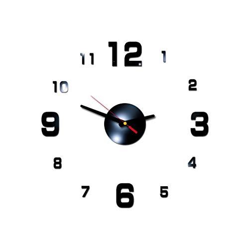 3D DIY römische Zahlen Acrylspiegel Wandaufkleber Uhr Home Decor Wandtattoos, Uhr für Ostertag (schwarz)
