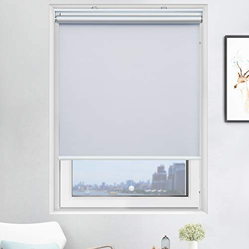 Acholo Blackout Roller Shades Cordless Window Blinds (White, 24 x 72 Inch) and Room Darkening Shades for Home & Windows