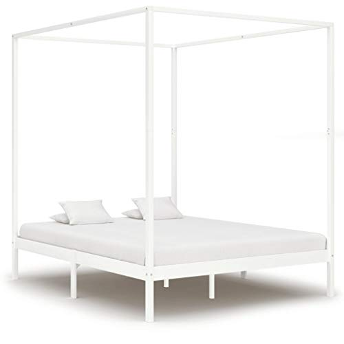Bonzy Home Canopy Bed Frame White Solid Pine Wood 6FT Super King