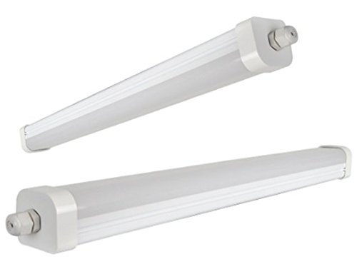 45W 5ft Industrial LED Batten Tube Light Surface Mount or Hanging IP Rated Triproof Fittng in Cool White T8 Fluorescent Replacement Ceiling Home or Commercial Use