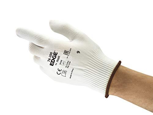 Ansell EDGE 76-200 Guanti da Lavoro Multiuso, Senza cuciture per Maggior Comfort, Ambidestri e Lavabili, Bianco, Taglia 7 (12 Paia)