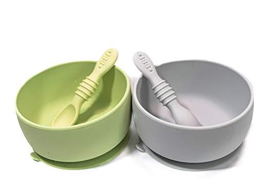 Mantrel bebé Set de 2 Platos hondos con 2 cucharas (4 Piezas) de silicón con succión antiderrames. Ideal para alimentación de tu bebé. Baby Bowls + Spoons (Verde / Gris)