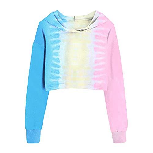 DEELIN Mode Nouveau Style des Femme Court Impression Teinture Sweat à Capuche Manche Longue Pullover Tops Blouse (Large, Bleu)