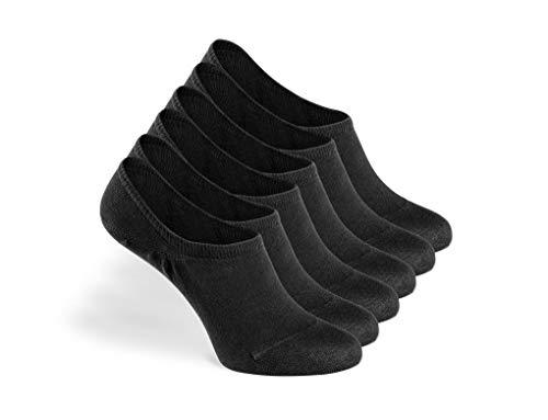Greylags PREMIUM Invisible Sneaker Socken, rutschfest, 6 Paar - gekämmte Baumwolle bequem ohne drückende Naht in schwarz - 35-38
