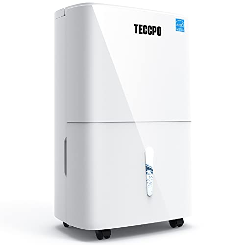 TECCPO 4500 Sq.Ft Dehumidifiers for Basements, 70 Pints Energy Star Dehumidifier with 7L Water Tank, Quiet Design, Intelligent Humidity Control, 24H Timer, Swing Mode, Child Lock