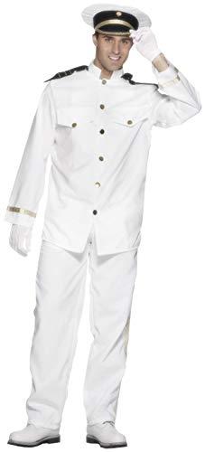 Smiffys Herren Kapitän Kostüm, Jacke, Hose, Mütze und Handschuhe, Größe: XL, 24850