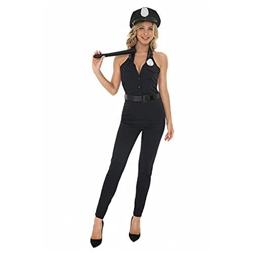 HIZQ Disfraz para Adultos Uniforme De Mujer Policía Una Pieza Estilo Halter Sexy Halloween El Disfraz Juego rol Es Adecuado Representaciones Teatrales Fiesta Disfraces,Negro,XL