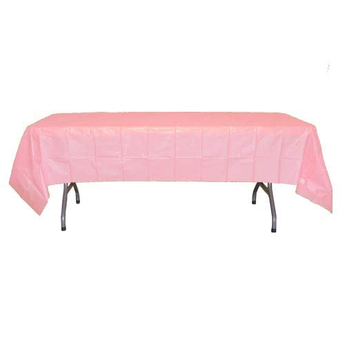 12-Pack Premium Plastic Tablecloth 54in. x 108in. Rectangle Table Cover - Pink
