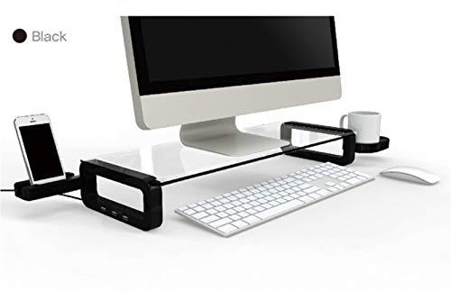 Sunnone UBoard Schreibtischregal aus Glas mit 3x USB Ports, Becherhalterung, schwarz