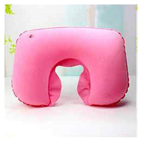 DZSW Almohada de aire portátil ultraligera de PVC inflable de nailon para viajes, dormitorio, senderismo, playa, cochecito, avión, reposacabezas en forma de U, cómoda almohada (color: Style2 Pink)