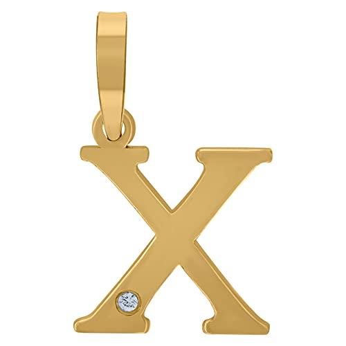 Colgante de plata de ley 925 con circonita cúbica unisex con nombre de letra y monograma personalizado con inicial del alfabeto X con colgante de collar, joyería para mujer