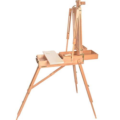 SMX Amerikaanse Art Supply Franse Stijl Easel, Houten Pallete & Schouderband Draagbaar Draagbaar Easel, Opvouwbare Picture Box 62X104X145(184) cm