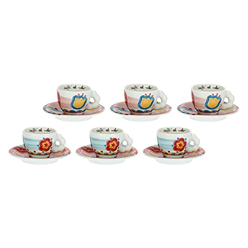 THUN - Set 6 Tazzine caffè - Cucina, caffè al Volo - Idea Regalo - Linea It's Time for Fiesta- Porcellana - Ø 6,5 cm; 5 cm h; 12 cm piattino; 0,10 lt