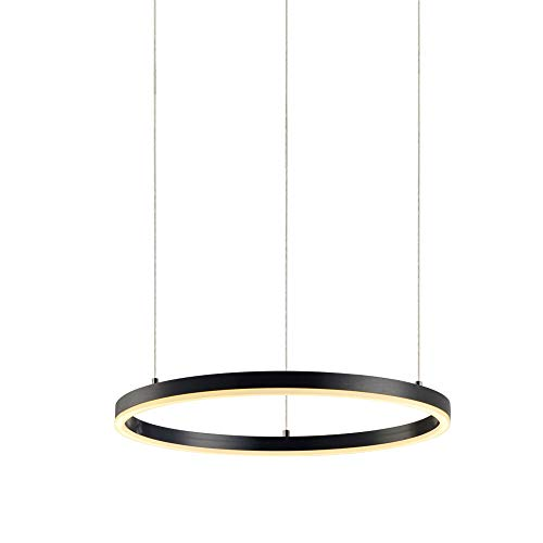 s.LUCE Ring M LED-Hängeleuchte Ø 60cm Schwarz Dimmbar LED-Ringleuchte LED-Ringlampe LED-Hängelampe Ring-Pendelleuchte