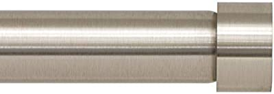 Ivilon Drapery Window Curtain Rod - End Cap Style Design 1 Inch Pole. 72 to 144 Inch Color Brushed Nickel