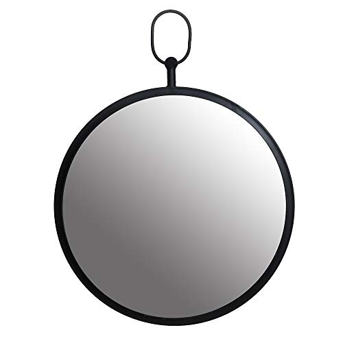 Black Round Wall Mirror with Decorative -