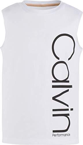 Calvin Klein Big Girls' Performance Logo Tank Top, White, Medium (8/10)