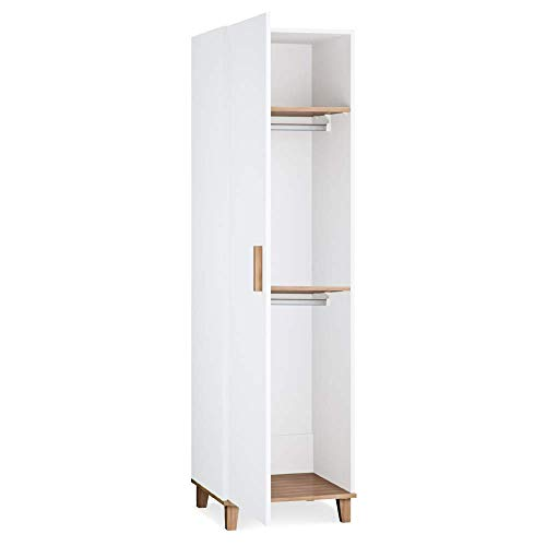 Silver Cross Westport/Brighton 1 Door Wardrobe for Bedrooms with Generous Storage, Brushed Steel Handles, and Solid Oak Feet SX 8123.00