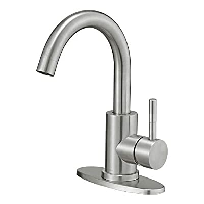 Hoimpro Modern Single Handle Wet Bar Sink Faucet,Single Hole Bathroom Lavatory Faucet,Rv Small Bathroom Sink Faucet,Bar Vanity Faucet with 360 Rotate Spout,Stainless Steel/Brushed Nickel