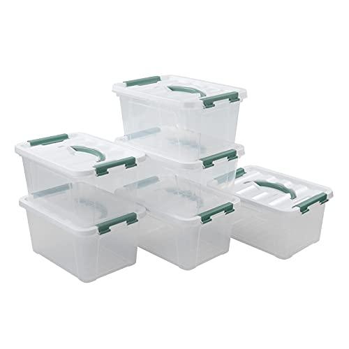 Ikando Cajas Contenedores Almacenaje de Plástico Transparente para Primeros Auxilios con Tapas, Paquete de 6