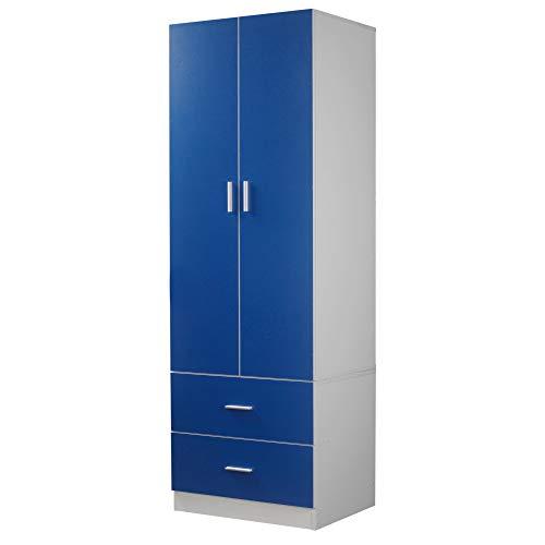 Orlando Wooden 2 Door With 2 Drawers Kids Wardrobe Bedroom Storage Hanging Bar (Blue)