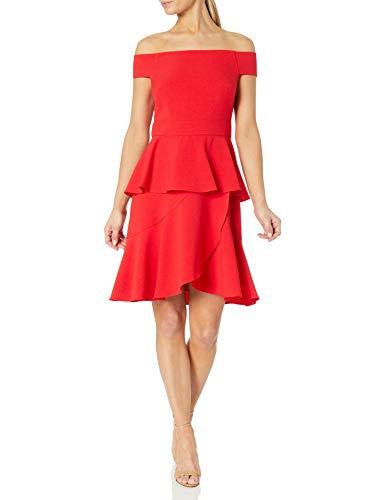 Eliza J Women's Off-The-Shoulder Tiered Dress, Red, 12