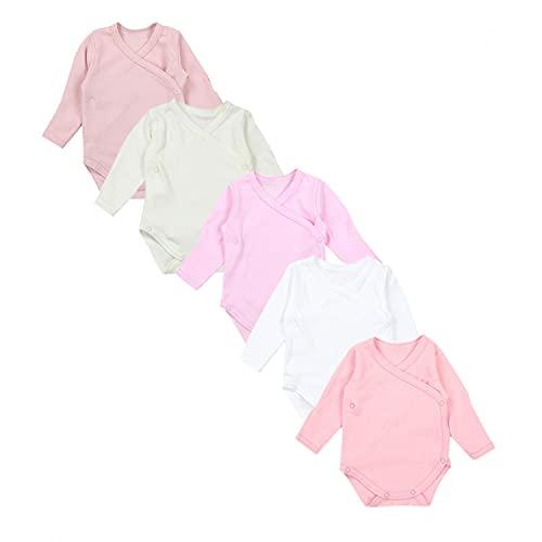 TupTam Baby Unisex Langarm Wickelbody mit Kratzschutz Langarmbody Bodys Baumwolle im 5er Pack, Farbe: Farbenmix 1, Größe: 56