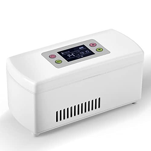 ABJING Tragbare Insulin Kühlbox Mini Medizinischer KüHlschrank 2-8℃ LCD-Anzeige Intelligente Elektrisch Insulin Kühler FüR Reisen Interferon Lagerung Von Arzneimitteln(Color:Weiß)