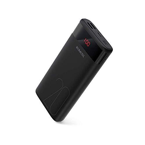 ROMOSS Powerbank 20000mAh Display a LED, Caricatore Portatile Type-C (3.2A Total) 3 Inputs e 2 Outputs Compatibilità con Tutti i Telefoni Cellulari, Tablet