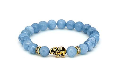 Elefanten Aquamarin Armband mit Naturstein Perlen und Kristall Highlights – BERGERLIN Feel Goods