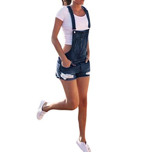 Kanpola Latzhosen Damen Kurz Retro Jeanshose Destroyed Jeans Sommer Hose Locker Denim Shorts Freizeit Overall