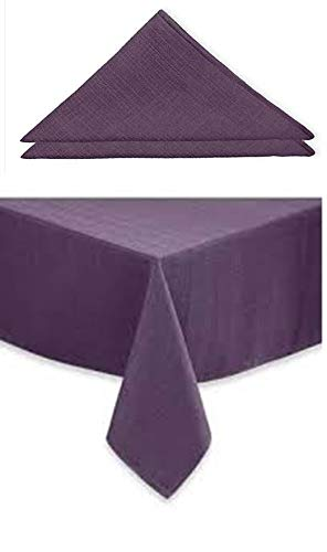 Noritake Colorwave Collection Tablecloth and Napkins Set - Plum Oblong 60' x 120' Plus 4 19' x 19' Napkins, Spring Easter Festive Dining Table Linen Set