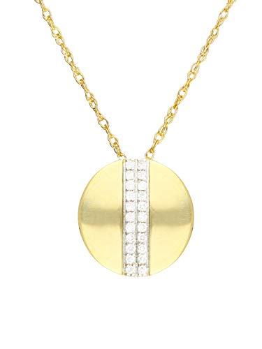 Halskette Mit Anhänger Gelbgold 333 Gold (8 Karat) Diamant 0,07ct. Kette 45cm Diamantkette Ø 11mm Damenkette Goldkette Joana V0013537