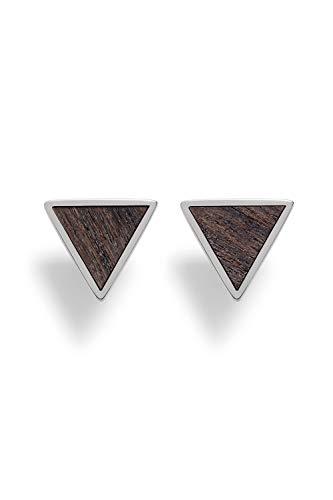 KERBHOLZ Holzschmuck – Geometrics Collection Triangle Earring, Damen Ohrring geometrisch, kleine Ohrstecker mit Dreieck aus Naturholz, silber (8,5mm x 7,5mm)
